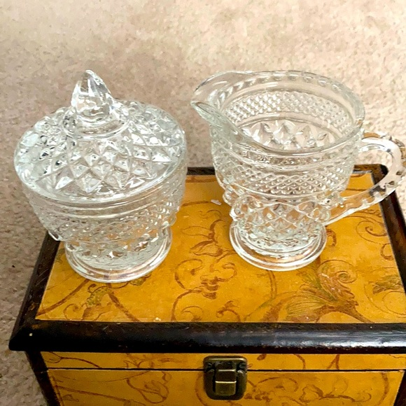 Indiana Glass Vintage Cream and Sugar Bowl 1950